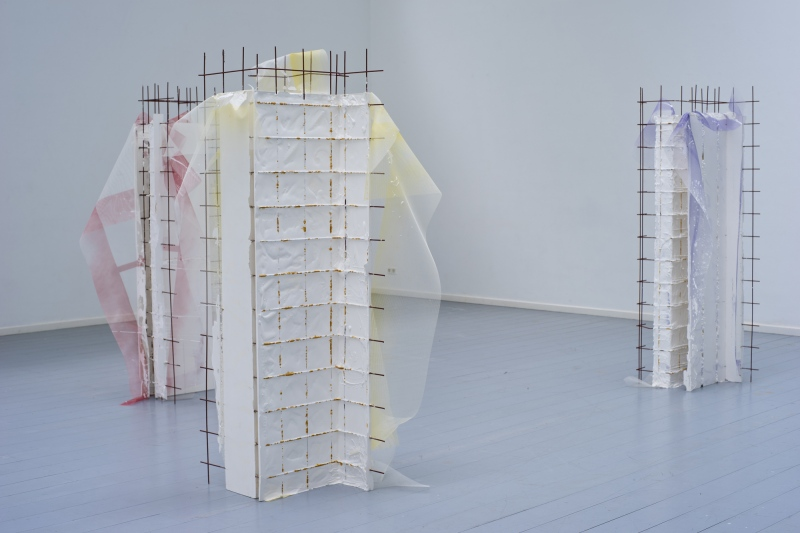 Models of Now, Then and Maybe, installation view, 2014Plaster, screen mesh, spray, mdf, paintEach object 200 x 80 x 80 cm